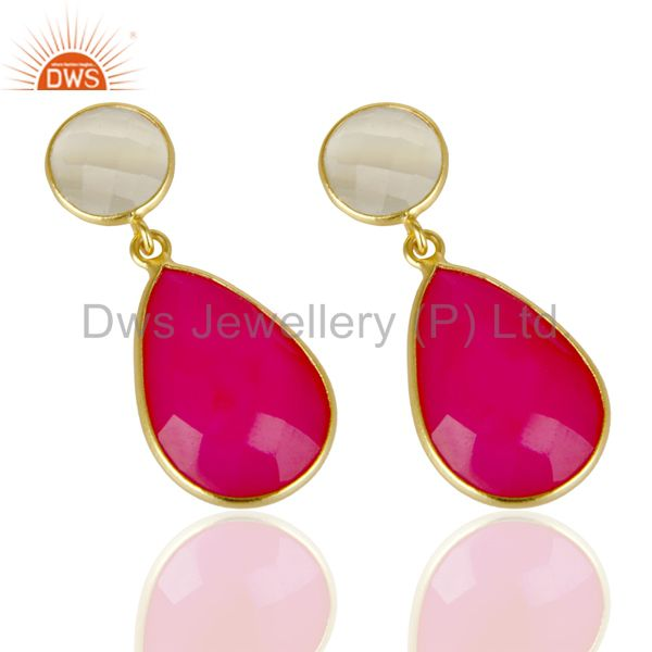 Exporter 14K Gold Plated 925 Sterling Silver Moonstone & Pink Chalcedony Drops Earrings