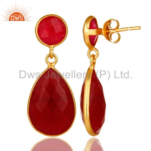 Exporter 14K Yellow Gold Plated Sterling Silver Red Aventurine Bezel Set Drop Earrings