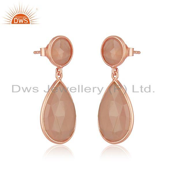 Exporter Chalcedony Gemstone Rose Gold Plated 925 Silver Earrings Supplier