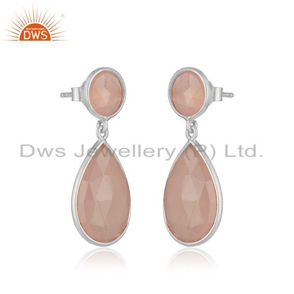 Exporter Sterling Silver Rose Chalcedony Gemstone Drop Earrings Suppliers