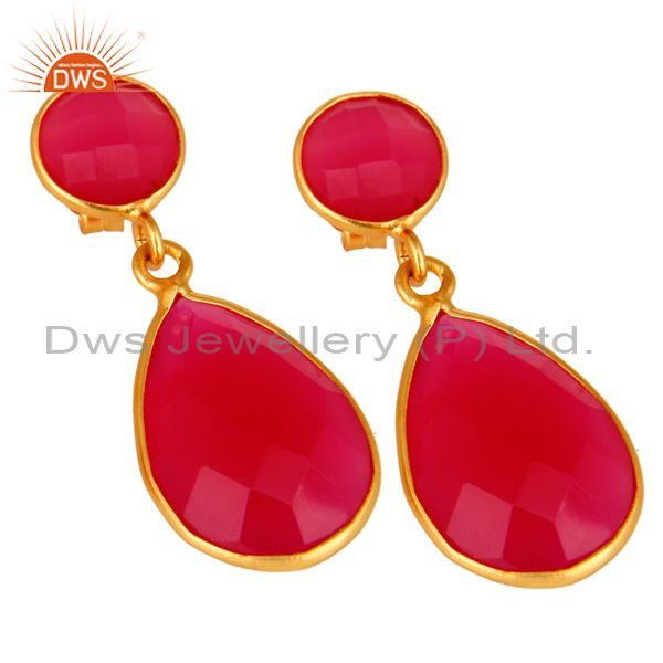 Manufacturer of Faceted Dyed Pink Chalcedony Pear Shape 925 Silver Drop Earrings - Gold Plated
