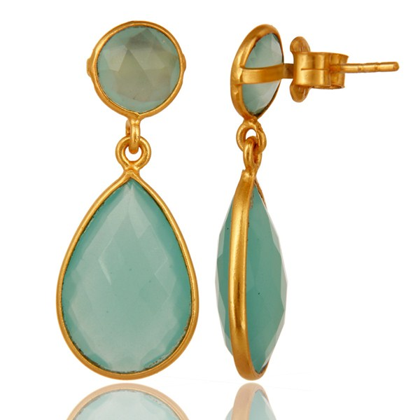 Manufacturer of Faceted Dyed Blue Aqua Chalcedony Sterling Silver Double Drop Earrings