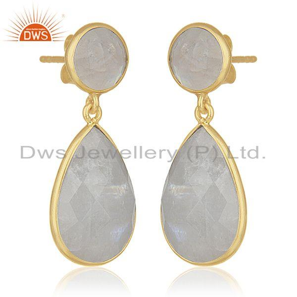 Exporter Rainbow Moonstone 925 Silver Gold Plated Dangle Earrings Manufacturer for Brands