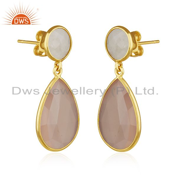 Exporter Rainbow Moonstone and Rose Chalcedony Gemstone Silver Earrings