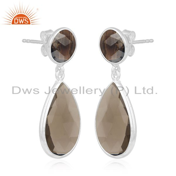Exporter Fine Sterling Silver Smoky Quartz Gemstone Earrings Manufacturer of Jewelry
