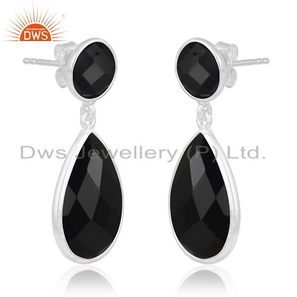 Exporter Black Onyx Gemstone 925 Sterling Silver Simple Design Dangle Earring Manufacture