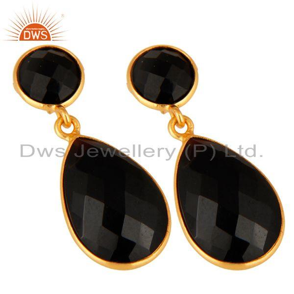 Exporter 925 Sterling Silver Faceted Gold Plated Black Onyx Gemstone Drop Earrings