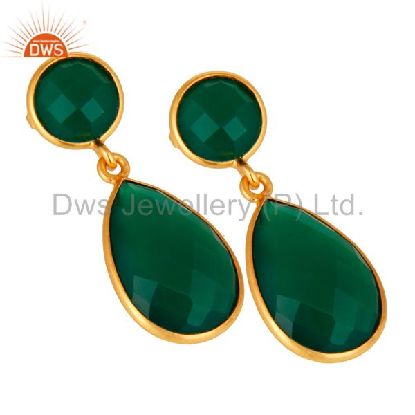 Exporter Green Onyx Faceted Gemstone Teardrop Earrings - Gold Plated Sterling Silver