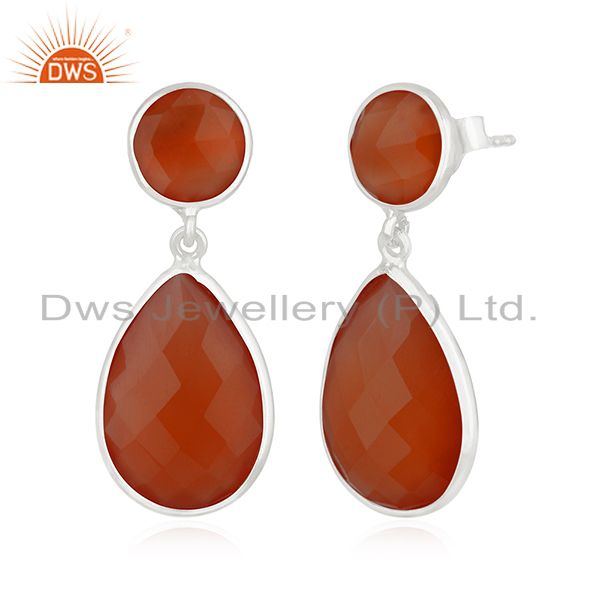 Exporter Private Label 925 Sterling Silver Red Onyx Gemstone Earring Manufacturer