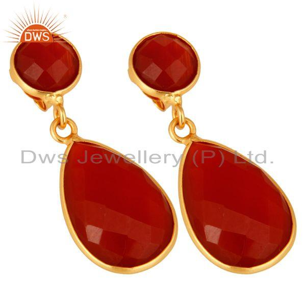 Exporter 18K Gold Plated Sterling Silver Faceted Red Onyx Gemstone Double Drop Earrings
