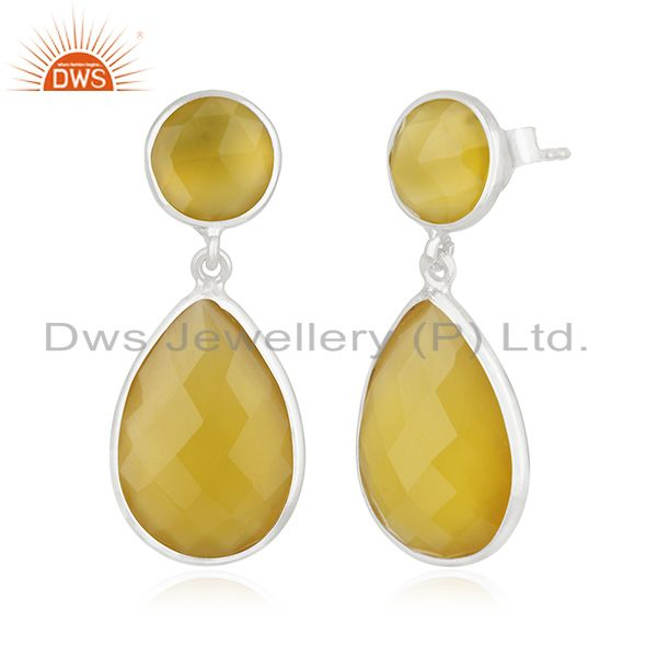 Exporter Yellow Chalcedony Gemstone 925 Sterling Silver Dangle Earring Manufacturers