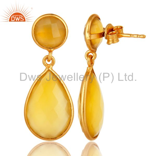 Exporter Yellow Chalcedony Stone Bezel Set Drop Earrings In 18K Gold Over Sterling Silver