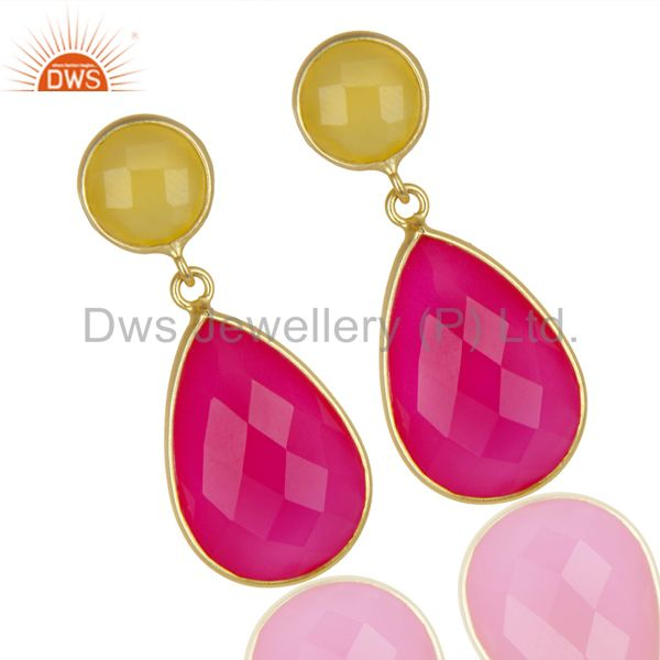 Exporter 14K Gold Plated 925 Sterling Silver Dyed Yellow Pink Chalcedony Drops Earrings