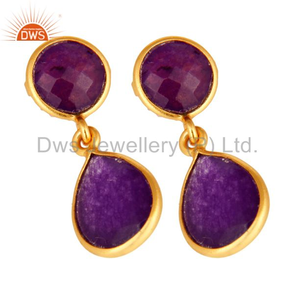 Manufacturer of Purple Chalcedony Gemstone Sterling Silver Drop Earrings - Gold Plated