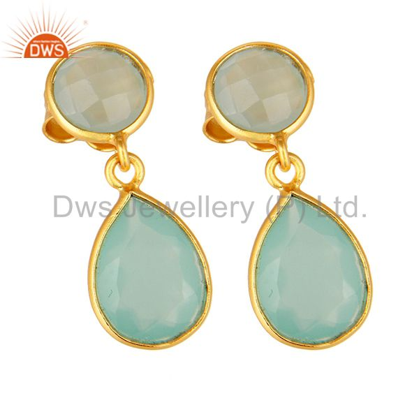 Wholesalers 14K Gold Plated Sterling Silver Dyed Aqua Blue Chalcedony Bezel Set Drop Earring