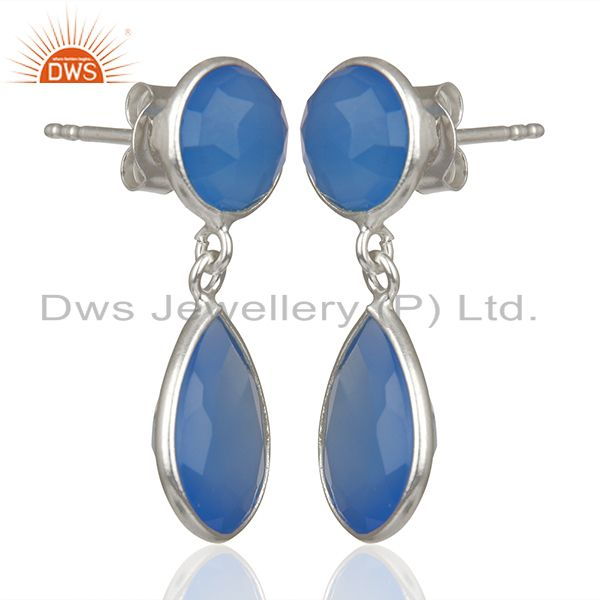 Exporter Blue Chalcedony Gemstone 925 Silver Drop Earrings Manufacturers