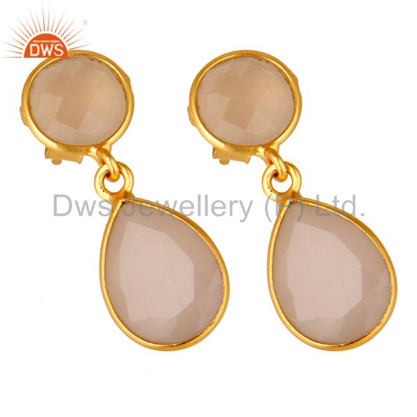 Exporter 18K Yellow Gold Plated Silver Rose Chalcedony Bezel Set Drop Earrings