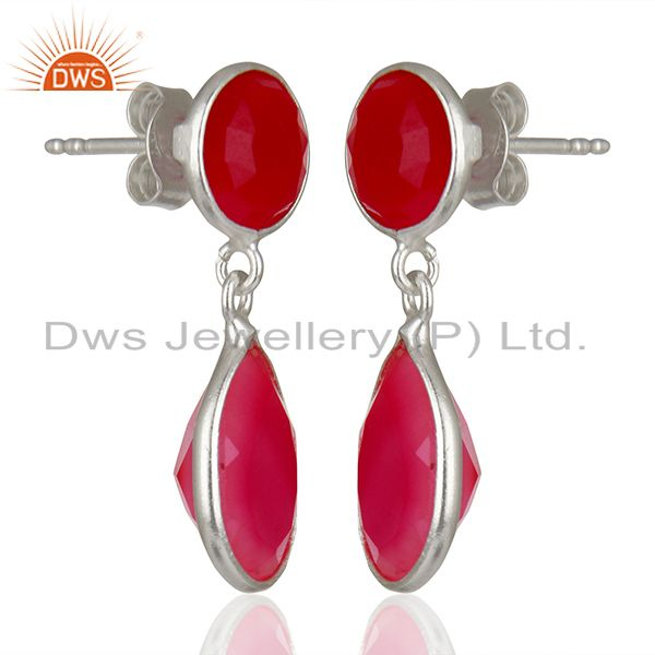 Exporter Pink Chalcedony Gemstone Sterling Silver Drop Earrings Supplier