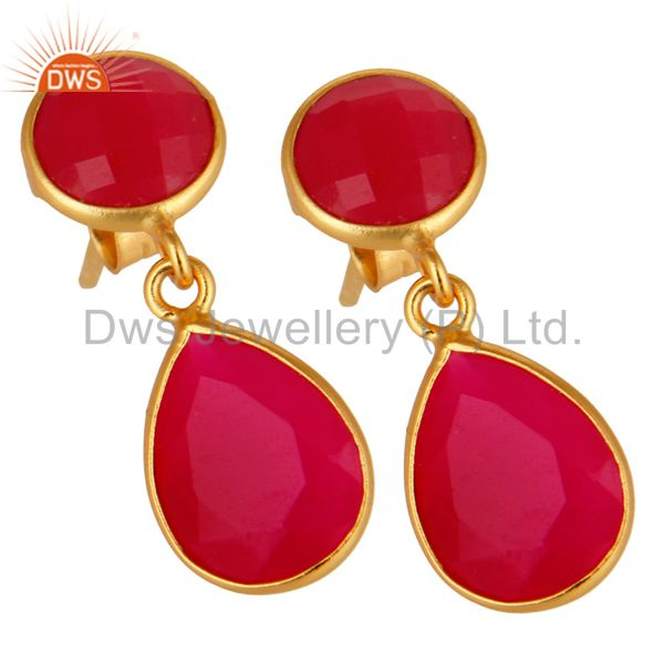 Exporter 18K Yellow Gold Plated Sterling Silver Pink Chalcedony Bezel Set Drops Earrings