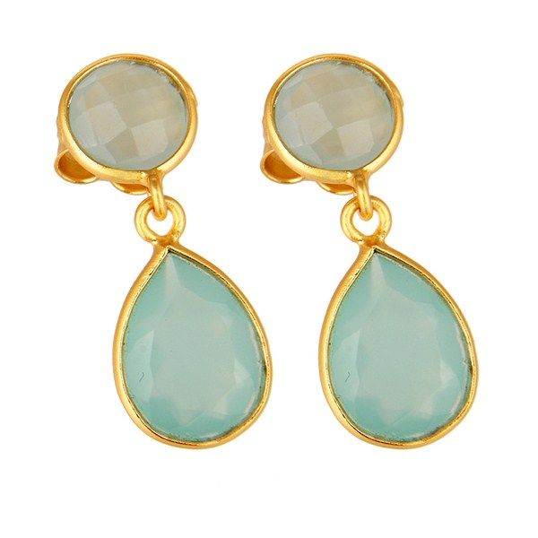 Exporter 14K Gold Plated Sterling Silver Dyed Aqua Blue Chalcedony Bezel Set Drop Earring