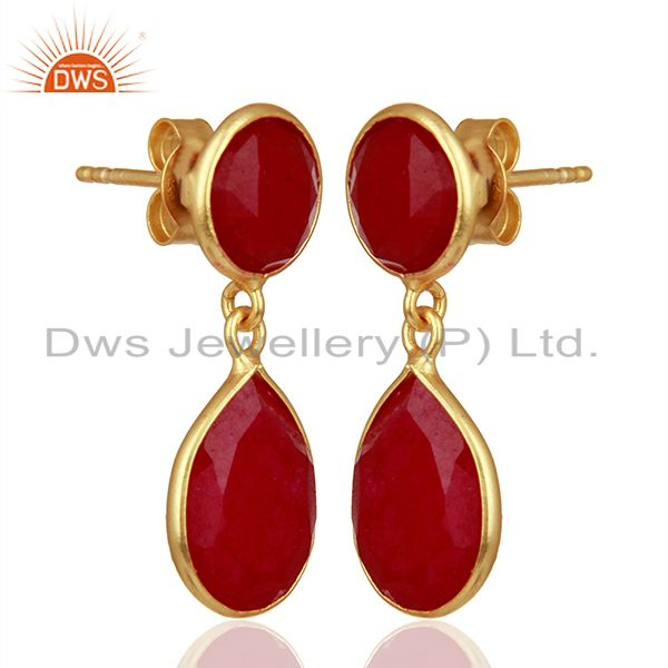 Exporter Red Gemstone Gold Plated 925 Silver Drop Earrings Manufacturers