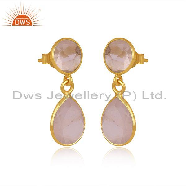 Round and pear cut rose quartz set gold on silver earrings