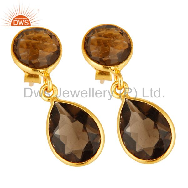 Exporter 18K Yellow Gold Over Sterling Silver Smoky Quartz Drop Earrings