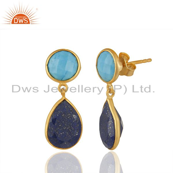 Exporter Multi Gemstone Bezel Setting 925 Silver Gold Plated Earrings Wholesale