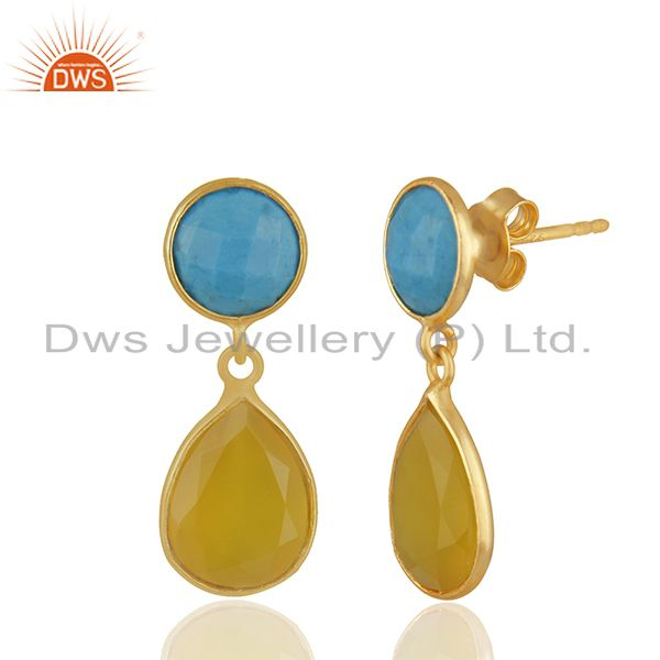 Exporter Turquoise and Yellow Chalcedony Gemstone 925 Silver Earrings Wholesale