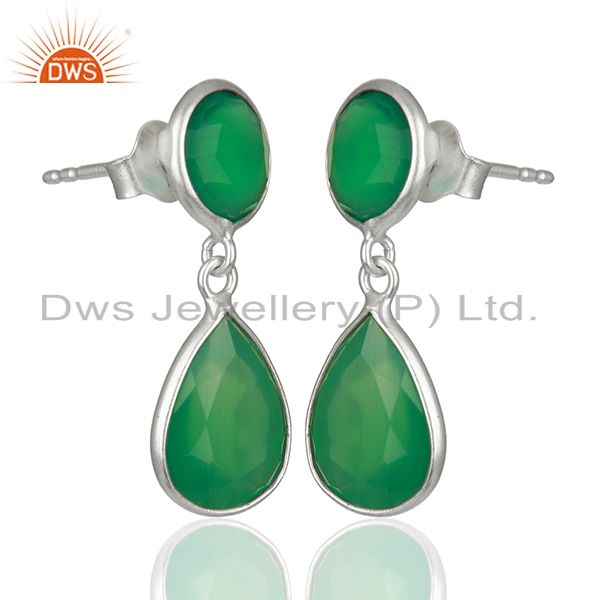 Exporter Green Onyx Gemstone 925 Sterling Silver Drop Earrings Manufacturers