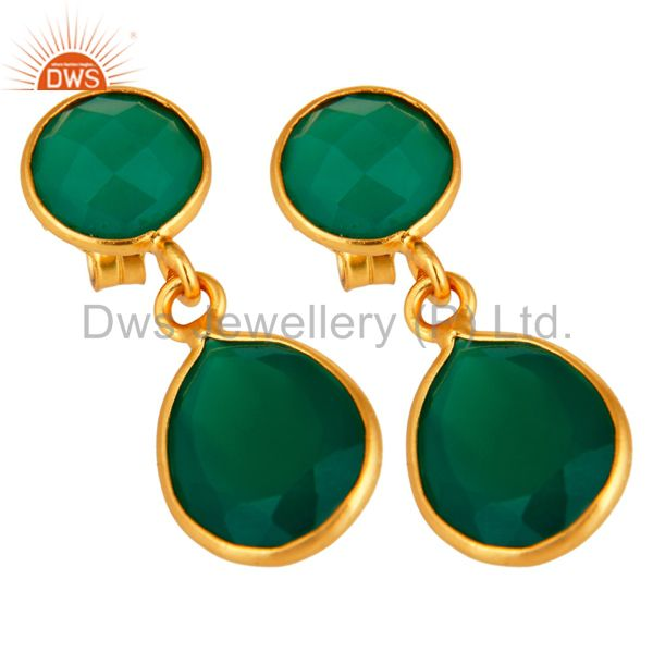 Exporter 14-Karat Gold Plated Sterling Silver Green Onyx Gemstone Drop Earrings