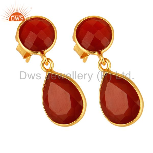 Exporter 14K Yellow Gold Plated Sterling Silver Red Onyx Bezel Set Gemstone Drop Earrings