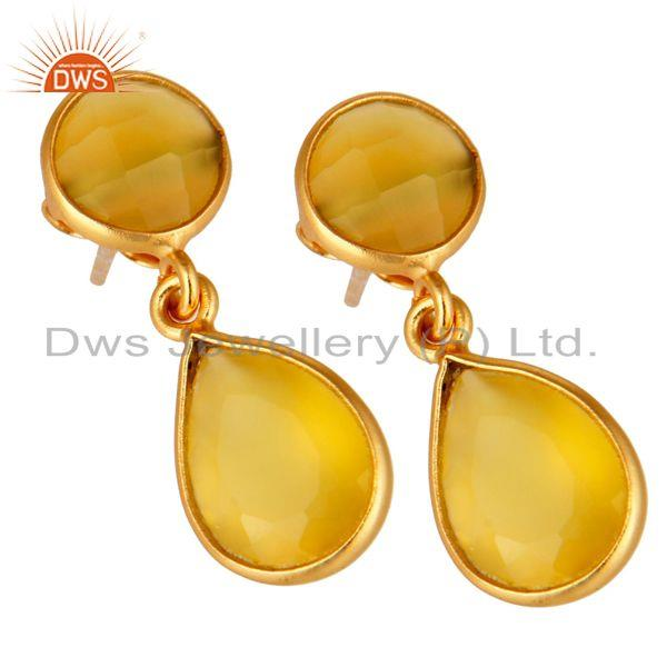 Exporter Bezel Set Yellow Moonstone Double Drop Earrings In 18K Yellow Gold Over Silver