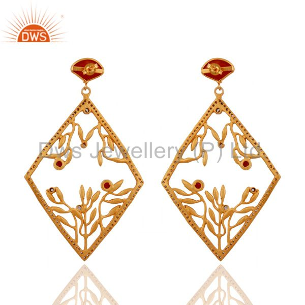 Exporter 18K Yellow Gold Over Brass Cubic Zirconia And Carnelian Designer Earrings