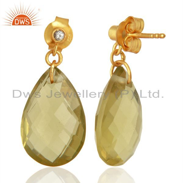 Exporter 18K Yellow Gold Plated Sterling Silver Lemon Topaz Drop Earrings With White Topa