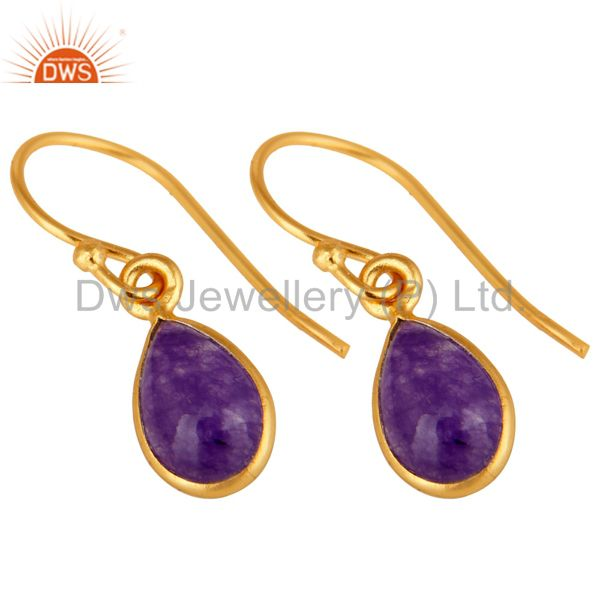 Exporter Handmade Sterling Silver Purple Aventurine Drop Earrings With Gold Plated