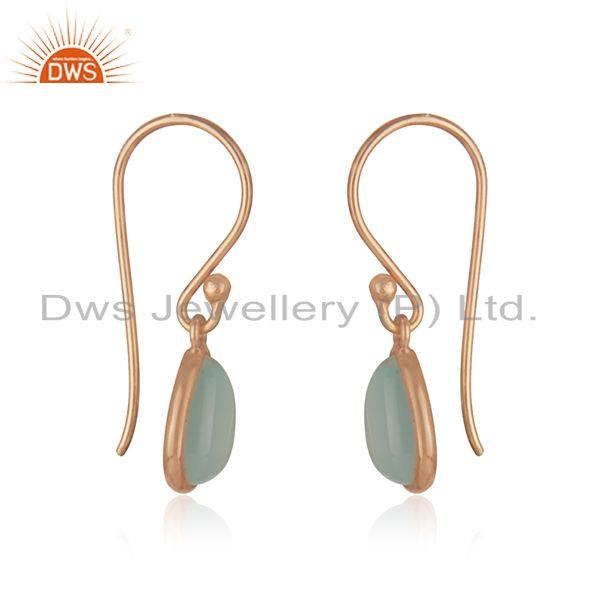 Exporter Aqua Chalcedony 14k Rose Gold Plated 925 Silver Gemstone Drop Earrings Wholesale