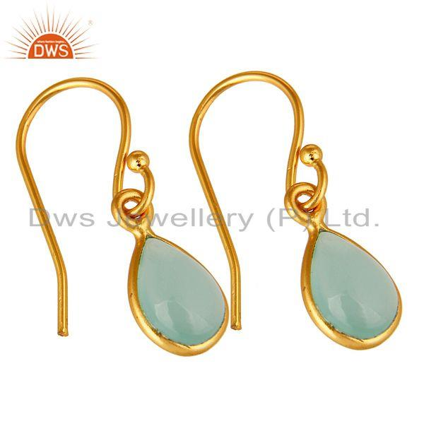 Wholesalers Aqua Blue Glass Chalcedony Bezel Set Drop Earrings Made In 18K Gold Over Silver