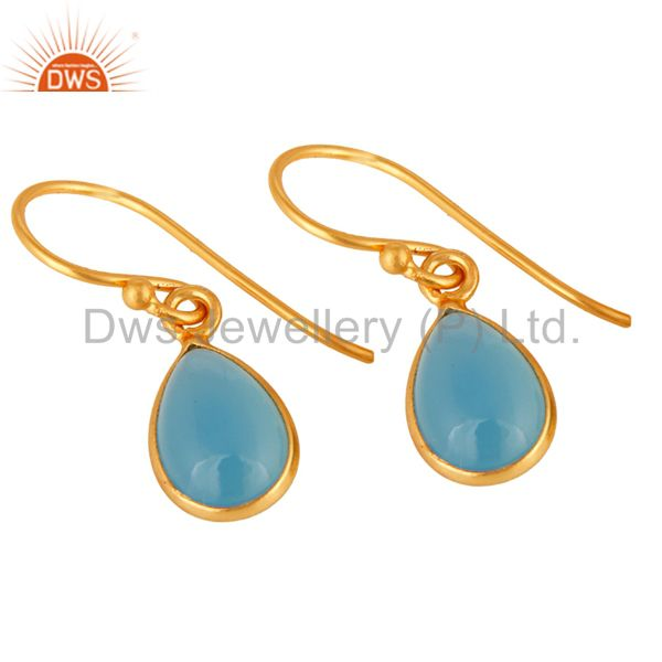 Exporter 18K Yellow Gold Plated Solid Silver Aqua Chalcedony Bezel Setting Drop Earrings