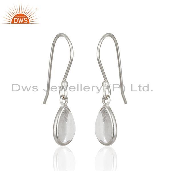Exporter Crystal Quartz 925 Sterling Fine Silver Simple Drop Earrings Manufacturer India