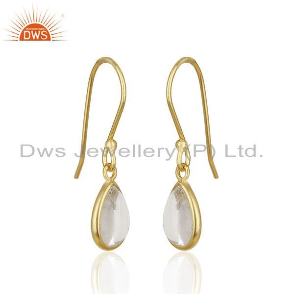 Exporter 14k Gold Plated 925 Silver Crystal Quartz Baby Girls Earrings Wholesale