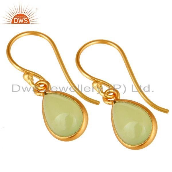 Exporter 18K Yellow Gold Plated Sterling Silver Dyed Chalcedony Gemstone Drop Earrings