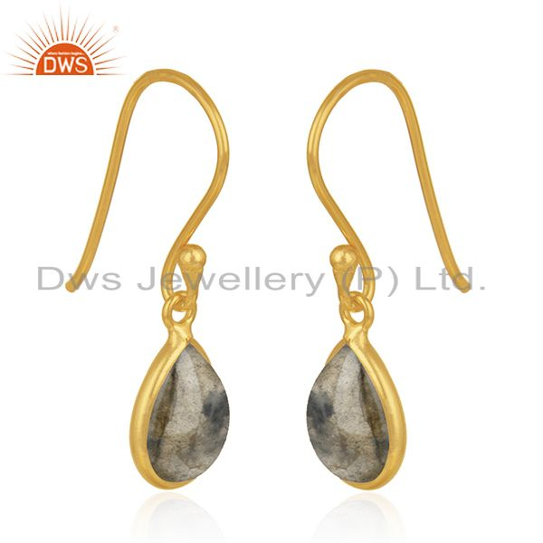 Exporter Natural Labradorite Gemstone Gold Plated 925 Silver Simple Drop Earring Supplier