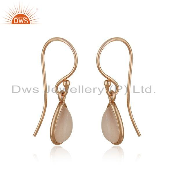 Exporter Rose Gold Plated 925 Silver Rose Chalcedony Gemstone Earrings Jewelry