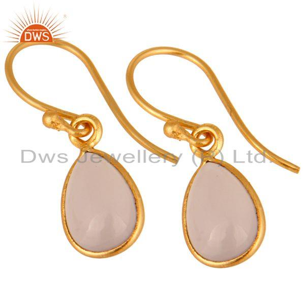 Exporter 22K Gold Plated 925 Sterling Silver Rose Chalcedony Gemstone Bezel Drop Earring