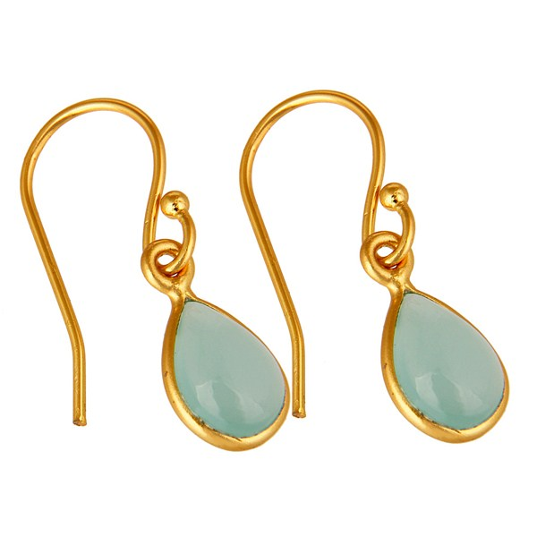 Exporter Aqua Blue Glass Chalcedony Bezel Set Drop Earrings Made In 18K Gold Over Silver