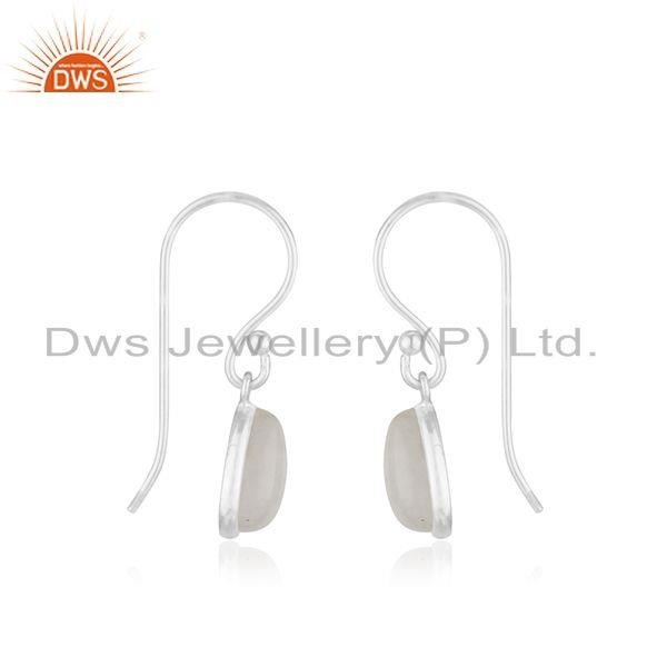 Exporter Rainbow Moonstone Sterling Silver Simple Drop Earrings Manufacturer India