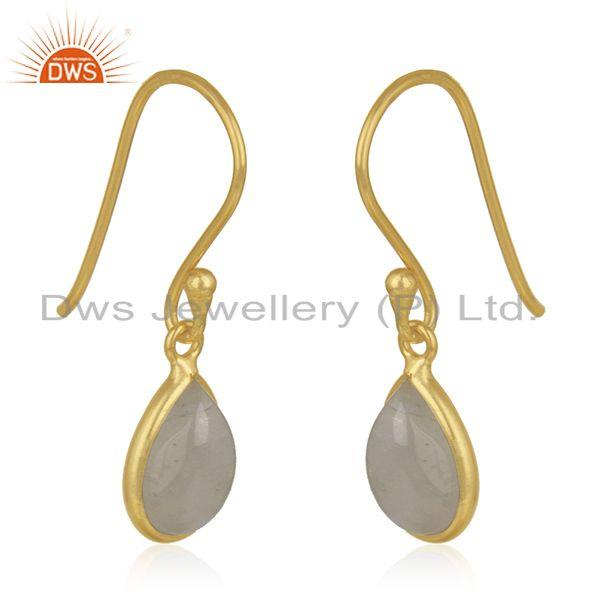 Exporter 92.5 Sterling Silver Gold Plated Rainbow Moonstone Drop Earring Manufacturer