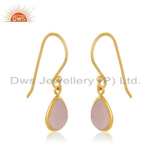Exporter Rose Quartz Gemstone Yellow Gold Plated 925 Sterling Silver Earring Jewelry