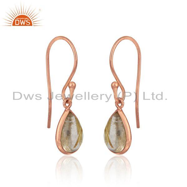 Drop dangle in rose gold on silver 925 with golden rutile